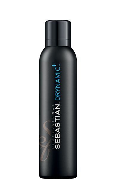 A slim black aerosol can of Drynamic+ dry shampoo