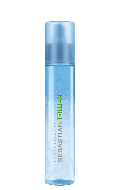 A slim blue bottle of Trilliant heat protection spray